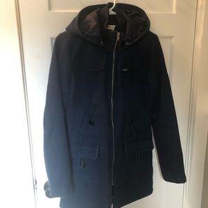 Navy blue zip up coat